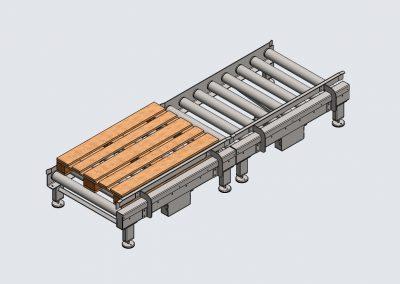 Paletten Rollenbahn mit ø89er Tragrollen. Kettentrieb von Rolle zu Rolle. Untergebauter Getriebemotor. Bauhöhe