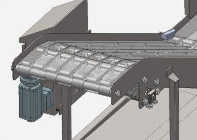 Detailansicht Fleischtransportband, einfach zu reinigen