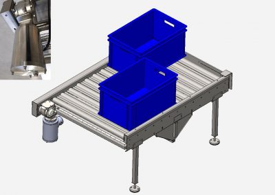 angetriebene Rollenbahn mit eingebautem pneumatischen Rechenschieber zur Produktgruppierung für die weitere Greiferabnahme. Antrieb mit Edelstahlgetriebemotor