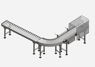 angetriebener geradgängiger Rollenbahnförderer und kurvengängiger Schwerkraft Rollenbahnförderer mit geradem Auslaufstück für Kartons in der Endverpackung