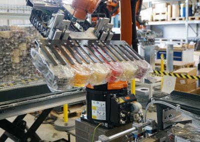 Gruppieren, Aufnehmen von pharmazeutischen Petrischalen mittels einem 6-Achsroboter mit Klemmgreifer von einem Transportsystem