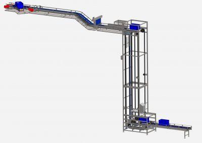S-Förderer, der E3-Behälter auf Plattformen ca. 7 m nach unten fördert