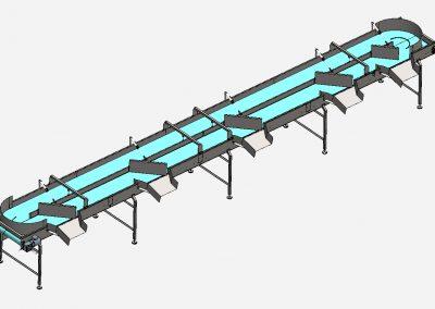 Stautisch mit Modulbandkette als Sammel- und Verteilertransportband mit Ausschleusung
