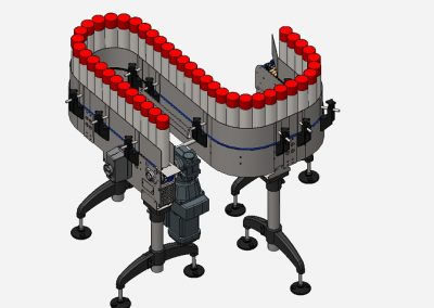 Scharnierbandförderer für Spraydosen Aerosoldosen oder Konservendosen bzw. Gläser, 82 mm Kettenbreite, sehr kleiner Kettenmittenradius von 180 mm, ohne Bogenräder